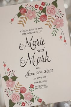 Floral Wedding Invite pink and gold Qty100 by BeholdDesignz