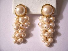 Monet Pearl Chain Pierced Earrings Gold Vintage Round Assorted Beads