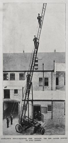 Horse-drawn Telescopic Ladder. Before the arrival of a horse-drawn ladder, the fire-fighters had to drag a hook and ladder truck by hand, from the fire station to the location of the fire, often exhausting themselves in the process. After a devastating fire at the Grand Hotel, the Auckland City Council came under increased pressure to replace the ageing fire-fighting equipment.