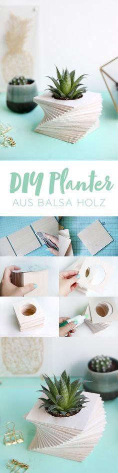 Kreative DIY-Idee zum Selbermachen: DIY Anleitung für einen Pflanztopf für Sukkulenten aus Balsaholz