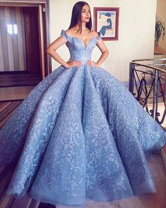 2018 New Gorgerous Off the Shoulder Blue Ball Gown Prom Dresses Lace Appliques Zipper Back Formal Dresses Evening Wear Party Gowns Dresses Modest Blue Ball Gowns, Ball Gowns Prom, Party Gowns, Ball Dresses, Evening Dresses, Blue Gown, Prom Party, Dresses Dresses, Dresses Online