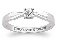 Buy Sterling Silver Engraved Genuine Diamond Solitaire Ring at Limoges Heart Shaped Promise Rings, Promise Rings For Couples, Diamond Promise Rings, Antique Jewelry, Silver Jewelry, Do It Yourself Fashion, Dollar, Walmart Jewelry, One Ring