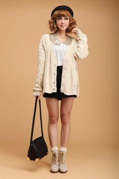 $35.20 Korean sweet Serratula cardigan sweater pockets