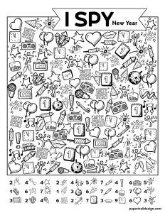 Free Printable New Year I Spy Activity The I Spy New Year's game is a great way to celebrate with the kids. Print the I spy activity for free and use them for an easy and fun family celebration. New Years Activities, Fun Activities For Kids, Learning Activities, New Year's Games, I Spy Games, Happy New Year Banner, Hidden Pictures, Paper Trail, Activity Sheets
