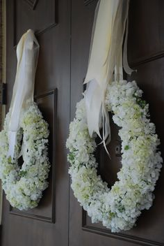 hydrangea wreaths for the front doors  - Lucas Wedding