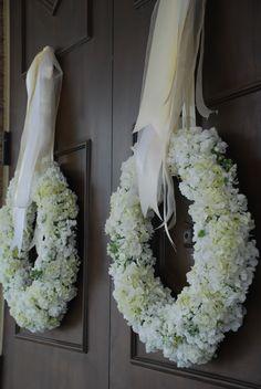 hydrangea wreaths for the front doors
