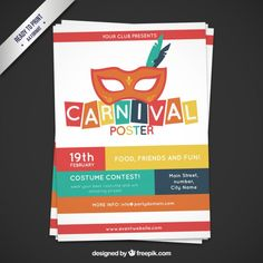Colorful carnval poster Free Vector