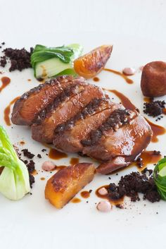 Francesco Apreda's duck breast recipe is infused with Indian flavours, with tandoori paste and a masala spice mix used to flavour and marinate the breasts. Leg meat is used to make delicious croquettes, served with pak choi and buttered apricots.