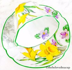 Pretty Melba Spring Daffodil 1940s handpainted ring handle Art Nouveau teacup and saucer in great antique condition. ~Complimentary antique sugar spoon included with every purchase~ **The Beloved Teacup combines and discounts shipping when possible, please convo us to inquire**