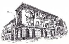 Drawing of the Mechanics and Traders Bank in Greenpoint...