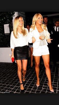 White Blouse and Leather Skater Skirt