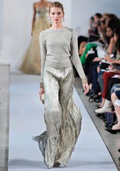 Oscar de la Renta Pre-Fall 2013 / Long Sleeve Sweater + Silver Pleated Maxi Dress
