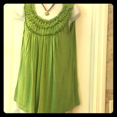August silk blouse Loose fit olive green tank top blouse august silk Tops Tank Tops