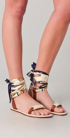 scarf ankle wrap sandals