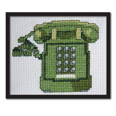 Green Retro Phone Cross Stitch Pattern Instant by tinymodernist, $6.00