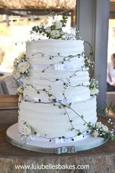 Rustic wedding cake by Lulubelle's Bakes - http://cakesdecor.com/cakes/233999-rustic-wedding-cake