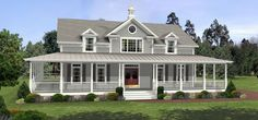 Country House Plan chp-27613 - wrap-around porch, office space, laundry room near master suite, good overall layout.