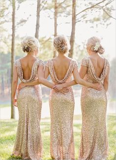gold sequined bridesmaid dresses with open back