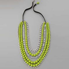 Adia Kibur Multi-Strand Neon Bead & Crystal Necklace: This tiered necklace features resin beads and rhinestone strands. Crystal Necklace, Crystal Beads, Fashion Necklace, Beaded Necklace, Fashion Jewelry, Strand Necklace, Crystals, Diy Jewelry, Accessories