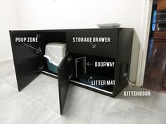 Another IKEA hack for cats, repurpose a cabinet to hide the litter box and other supplies! A hidden mat also removes particles from dirty paws...