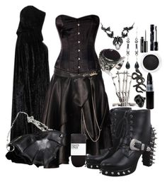 """""""Goth Tag"""" by secretsoftheslytherin ❤ liked on Polyvore featuring H&M, Yves Saint Laurent, Repossi, Femme Metale, Clarins, MAC Cosmetics and Shiseido"""