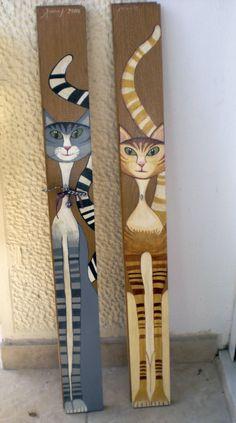 """""""γατούλες"""" ακρυλικά χρώματα πάνω σε ξύλο, 2009"""