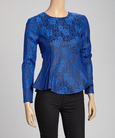 Take a look at this Blue Lace Graphic Peplum Top by Miss Finch on #zulily today!