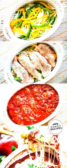The family cant stop asking for this recipe. Italian Baked Chicken and Peppers is so easy New Recipes For Dinner, Easy Chicken Dinner Recipes, Healthy Chicken Dinner, Healthy Pasta Recipes, Healthy Pastas, Easy Family Meals, Quick Easy Meals, Italian Baked Chicken, Breast