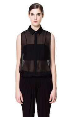 Zara-BLOUSE WITH KNITTED INTERIOR