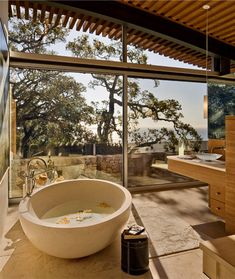Serene stone bathroom