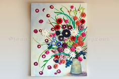 Flower Pot CROCHET  PAINTING on CANVAS by ©j.cox @sweetdashsprout on Etsy