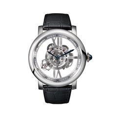 Rotonde de #Cartier Astrotourbillon Skeleton watch - 47mm, manual movement, 18K white gold, alligator skin