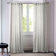 Cotton Oceania Border Curtains (Set Of 2)   Slate #westelm