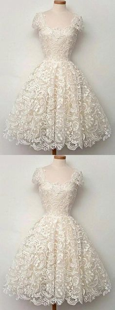 Lace Prom Dresses, Ivory A-line/Princess Prom Dresses, Short Ivory Party Dresses, 2017 Homecoming Dress Square Lace Ivory Short Prom Dress Party Dress Princess Prom Dresses, Lace Homecoming Dresses, Prom Dresses For Teens, Dresses Short, Prom Party Dresses, Cute Dresses, Vintage Dresses, Beautiful Dresses, Dress Party