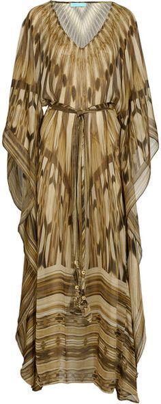 Melissa Odabash Helena Printed Silk Kaftan in Brown -