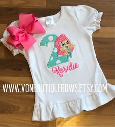 Birthday molly guppy Bow Number Personalized Shirt 1st Birthday 2nd 3rd 4th 5th 6th 7th 8th 9th Girl