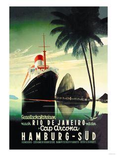 Croisière de Hamburg vers Rio de Janeiro sur le paquebot Cap Arcona - Affiche vintage de la compagnie Hamburg-Süd Affiches sur AllPosters.fr...