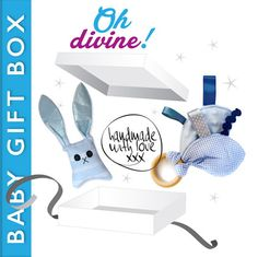 White Gift Box with Baby Blue Soft Cuddle Bunny and Taggie Teether. Baby Gift Sets, Baby Gifts, Baby Box, White Gift Boxes, Cuddle, Bookends, Bunny, Gift Ideas, Handmade