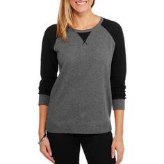 Faded Glory Women's Fashion Sweatshirt Top with Thermal Sleeves, Size: Large, Black