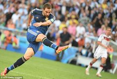 Missed opportunity: Argentina's Gonzalo Higuain drags a shot wide despite being clean thro. World Cup 2014, Fifa World Cup, Jamie Redknapp, World Cup Final, Papi, Lionel Messi, Master Class, Finals, Running