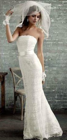 Davids Bridal sz 6 beaded lace sheath Wedding Dress