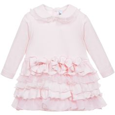 Baby Girls Pink Cotton Dress with Ruffle Skirt, Aletta, Girl