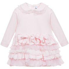 Aletta Baby Girls Pink Cotton Dress with Ruffle Skirt at Childrensalon.com