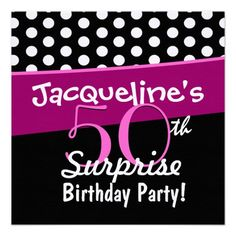 50th Surprise Birthday Polka Dots and Pink D541 Announcements