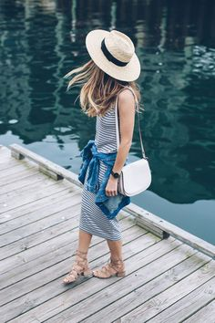 Jess Kirby shares her essentials for easy and effortless summer style including a striped midi dress and jean jacket from Nordstrom.: