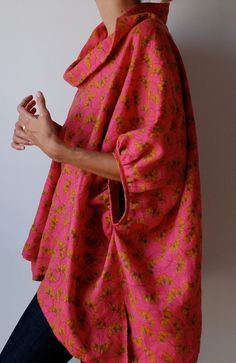 Pink loose fit linen smock frock / top. Plus size, scoop neck, sleeves.