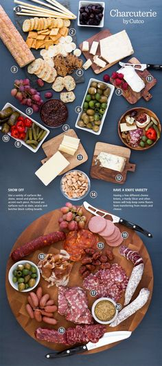 Create your own Charcuterie and Cheese Spread Plateau Charcuterie, Charcuterie Platter, Charcuterie And Cheese Board, Cheese Boards, Charcuterie Ideas, Charcuterie Spread, Meat Platter, Snacks Für Party, Appetizers For Party