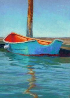 "Daily Paintworks - ""Colorful Rowboat Pastel Painting Art by Poucher"" - Original Fine Art for Sale - © Nancy Poucher"