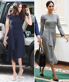 Meghan Markle liked this Roland Mouret dress so much she wore it twice Lovely Dresses, Simple Dresses, Dresses For Work, Summer Dresses, Meghan Markle Dress, Meghan Markle Style, Work Fashion, Fashion 2020, Fashion Design