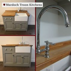 1200mm x 600mm Small Sink Unit🚰  This is a traditional Belfast sink unit with a drawer above, a door on one side and a useful cupboard under the ceramic sink. The cupboard under the drawer has one fixed shelf a the doors are fitted with strong magnetic catches.  This stunning small oak sink unit can be painted in any one of our premier paint colours and fitted with the handles of your choice - for the ultimate bespoke finish.⠀ Small Sink Unit, Sink Units, Kitchen Units, Kitchen Ideas, Belfast Sink, Pine Timber, Freestanding Kitchen, Kitchen Installation, Ceramic Sink